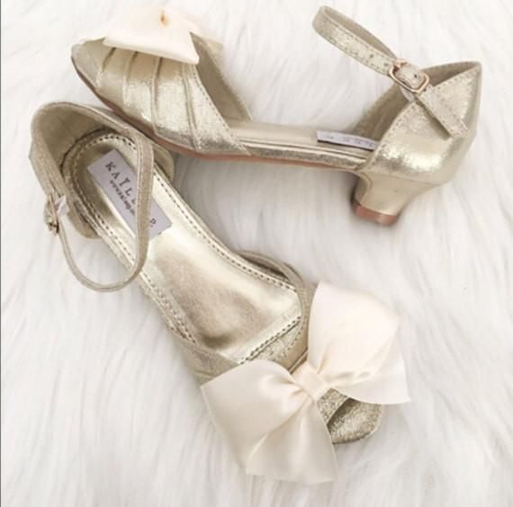 GOLD Shimmery Peep Toe  Two-piece Heels with Satin Bow
