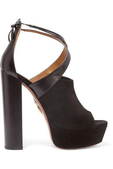 Aquazzura - Kaya Leather And Suede Platform Sandals - Black - IT36.5