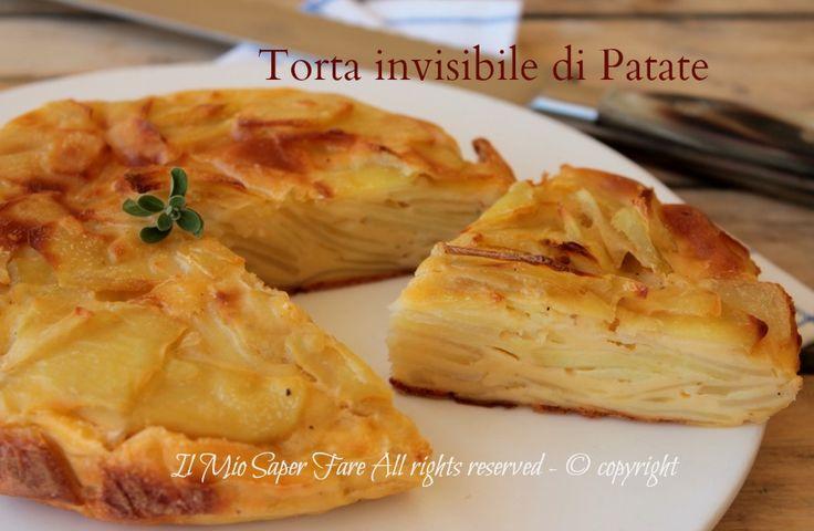 Torta invisibile di patate ricetta torta salata con patate facile e veloce. Morbida, gustosa e con tante fettine di patate che rendono l'impasto invisibile