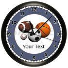 SPORTS WALL CLOCK BASKETBALL BASEBALL FOOTBALL SOCCER BOYS BEDROOM PERSONALIZED
