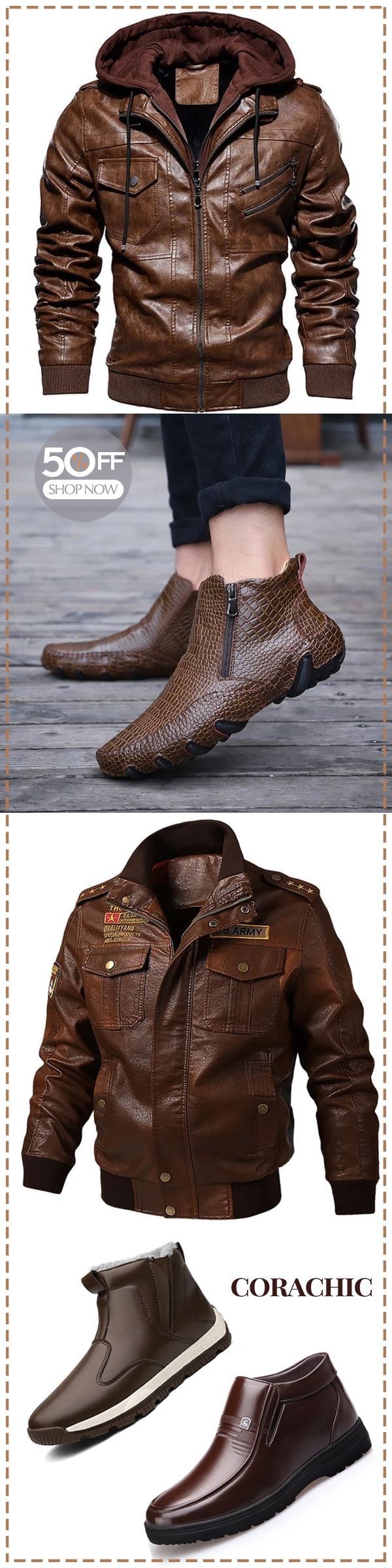 Men's jacket & boot on sale #Men's Fashion