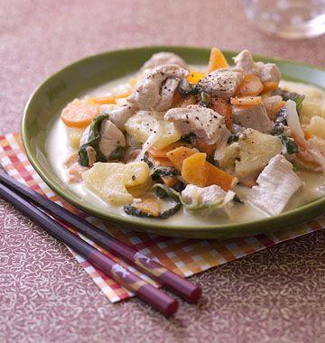 Saut� de dinde aux carottes, ananas et lait de coco - �d�lices : Recettes de cuisine faciles et originales !