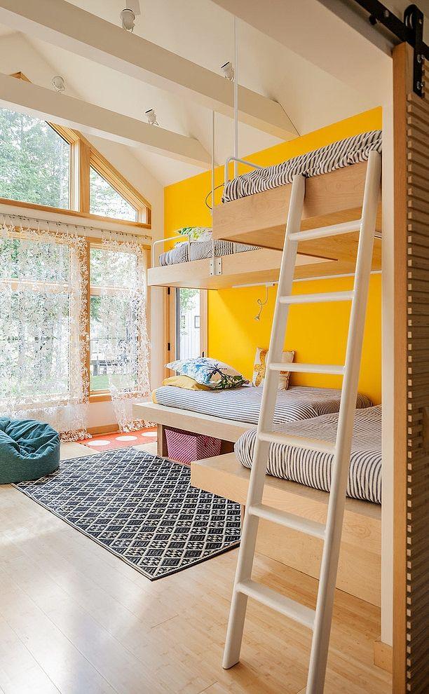 kids bunk room with quad bunks
