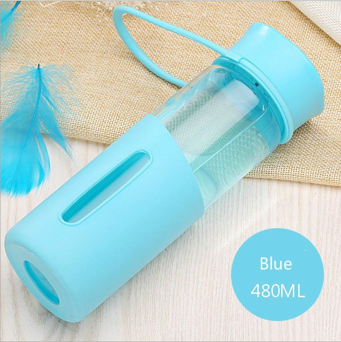 New fashion Korean Summer High Temperature glass colorful Resistant SilicaGel Glass Portable AntiScald Cup With Tea water bottle