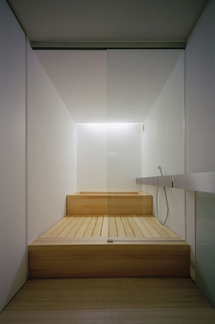 Architecture, Wood Bathroom Design With White Interior Design And Wood Bathtub Tray And Glass Divider Plus Laminated Wooden Floor: The Terri...
