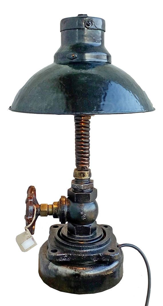Living room table lamps Bedside table lights Industrial style lamps Vintage lamps Industrial lights Table light Steampunk desk SALES OFF 15% DISCOUNT FOR EVERY SECOND PRODUCT !  Table lamp Morning in the mountains vendor code 01-29  Height: 54 cm (1ft 9.26in) Weight: 8 kg (18lb 11.8oz). Frame diameter: 20 cm (7.87in). Stardarts for bulb: E12, E14, E17, E26, E27. Wire length: 70 cm (2ft 3.56in).  Switch: on the wire, at a distance of 15-30 cm (5.91 - 11.8in) from the lamp. Switch is put on…