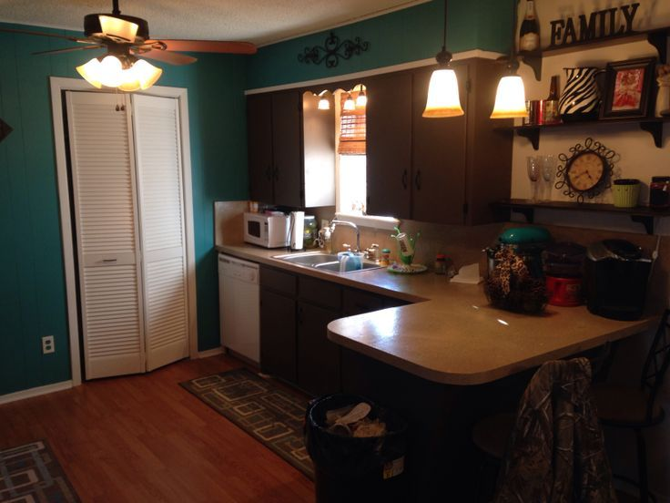 Turquoise And Chocolate Brown Kitchen