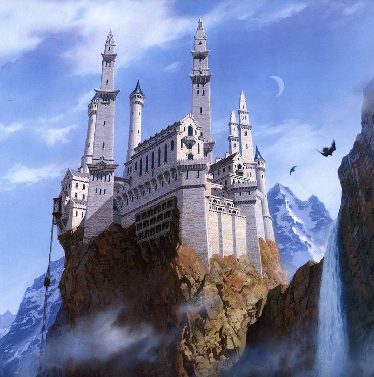 "The Eyrie by Ted Nasmith. ""Catelyn raised her eyes, up and up and up. At first all she saw was stone and trees.... Then she noticed the glow of distant fires well above them; a tower keep, built upon the steep side of the mountain.... Above that was another, higher and more distant, and still higher a third.... And finally, up where the falcons soared, a flash of white in the moonlight. Vertigo washed over her as she stared upward at the pale towers, so far above. 'The Eyrie.'"""