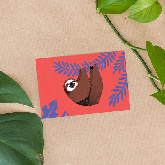 This is one postcard of a cute sloth hanging from a tropical plant, with the option of including a brown (recycled kraft paper) envelope.  High-quality print on paper with a natural touch, archival and acid free so that it will not yellow with time. Measures 10x15cm (3.9x 5.9 inches).  Will be sent wrapped in a paper sleeve and inside cardboard packaging.  note: fits in standard small picture frames.  ---------------  If youd like this as a giclee PRINT, go here: https://www.etsy.c...