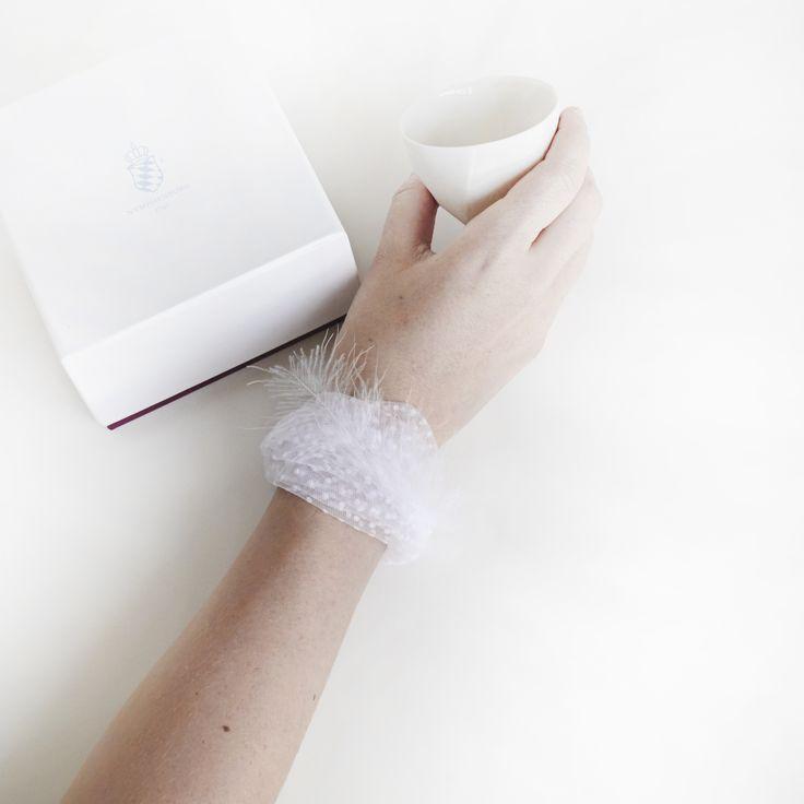 Romantic designer bracelet, Julie's feather by VVIITT, Antwerp, Belgium