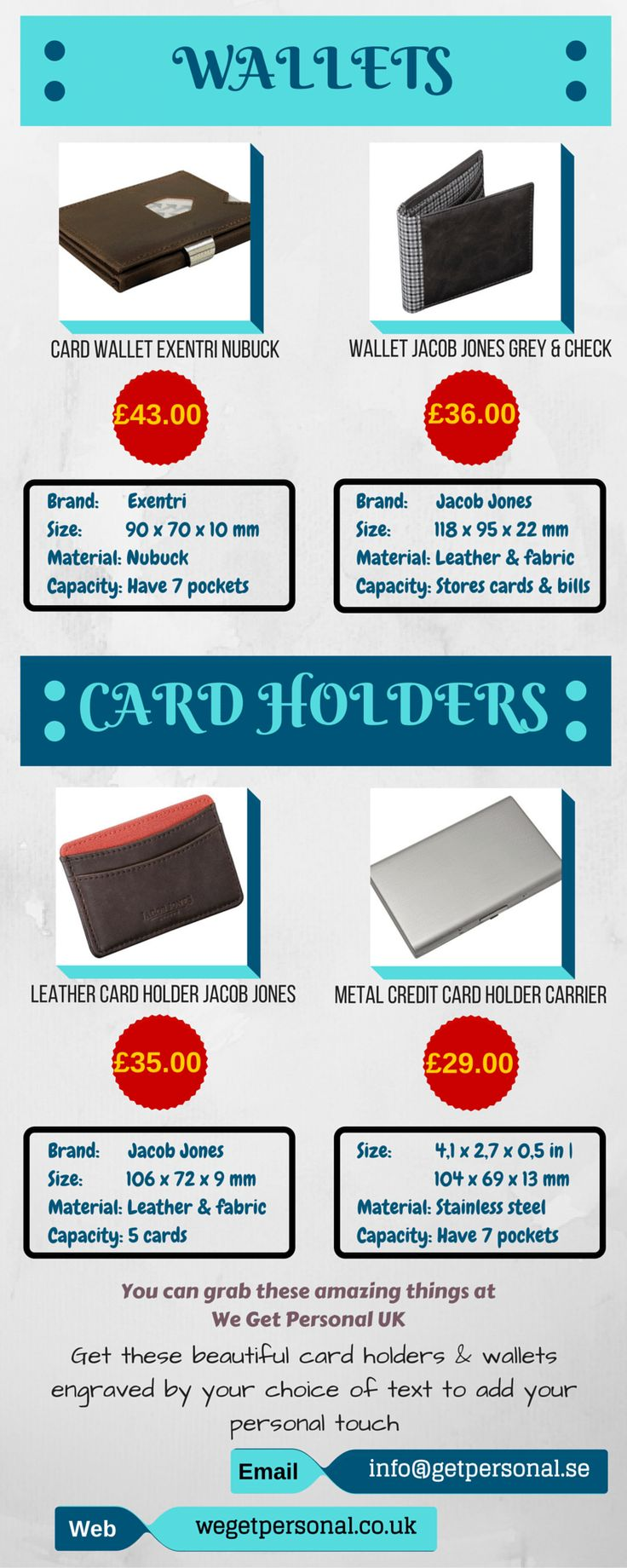 Take a look at this classy and stylish collection of card holders and wallets. These are pocket sized and very trendy to carry. You can use it to keeping visiting cards, credit cards, debit cards, ids and many more. You can carrying it along with you in your pocket or keep it in your purse, bag etc. at any where. If you want to see We Get Personal's personalised collection, visit us at wegetpersonal.co.uk #wallet #personalisedwallets #personalisedwallet #Engravedwallets  #personalisedcardhol