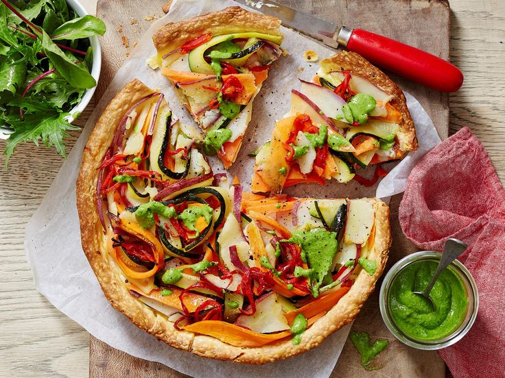 With a delicious ricotta filling topped with lovely ribbons of kumara, zucchini and capsicum, this healthy vegetable tart makes a great midweek pick. Plus, it's the perfect way to up your daily veggie intake.