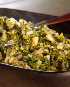 """This mineral-rich leafy green is a staple in the Jamaican diet; saute it with onions, scallions, and thyme to make a healthy vegetable side dish. If you can't find callaloo, Swiss chard or mustard greens make an excellent substitute. From the book """"Lucinda's Authentic Jamaican Kitchen,"""" by Lucinda Scala Quinn (Wiley)."""