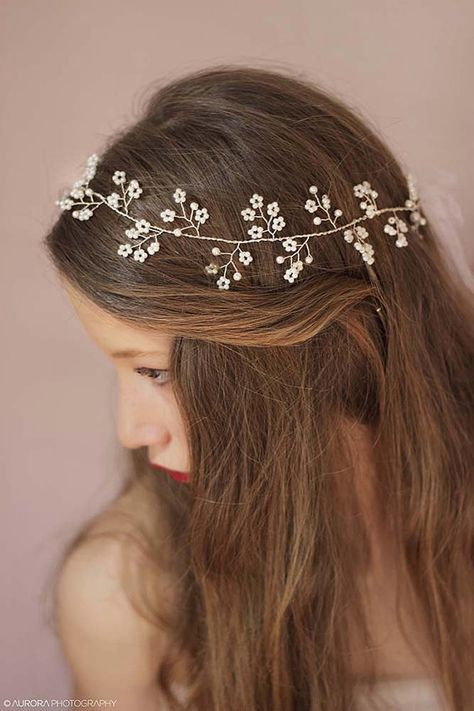 Wedding Hair Accessories. Stunning bridal pearl wedding headband crafted with beautiful hand wired pearl twigs. It is attached on ribbon in the