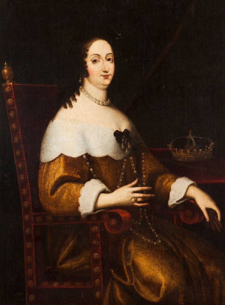 Portrait of Queen Marie Louise Gonzaga by Anonymous, ca. 1650 (PD-art/old), Private collection