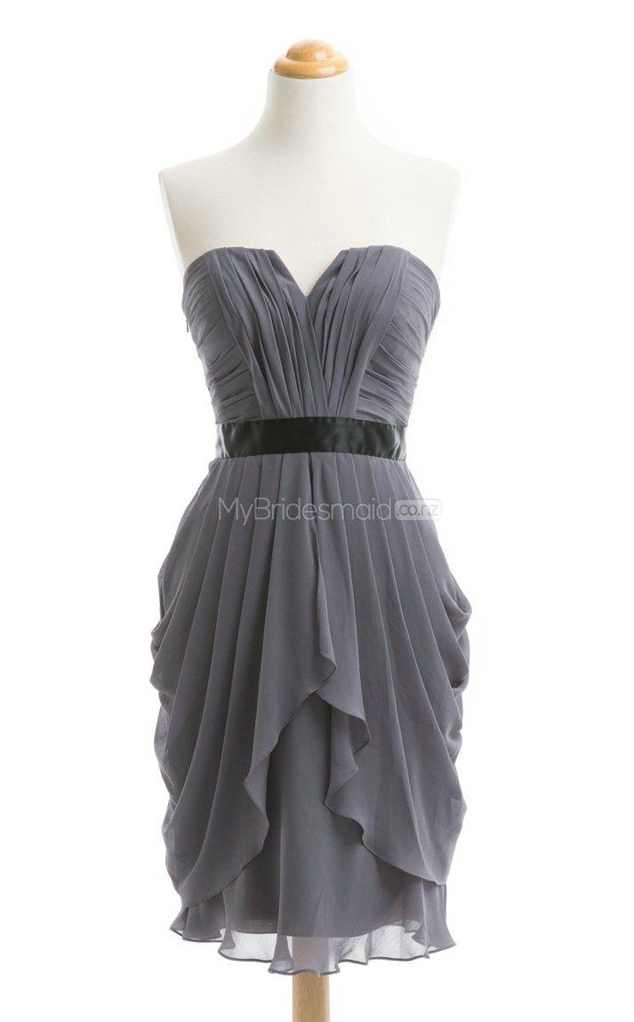 New Arrive Sliver A Line Strapless Chiffon Bridesmaid Dress(BSD099) - MyBridesmaid.co.nz