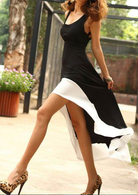 Black Sleeveless Strappy Backless Contrast Hem High-low Dress