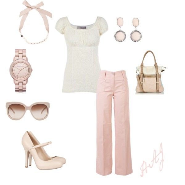 Peasant, created by anglssftwhisper on Polyvore: Outfit Ideas, Clothing Shoes Bags, Fashion Style, Pink Pants, Pale Pink, Fashion Closet, Clothing Outfit, Pastel Color, Evening Outfit