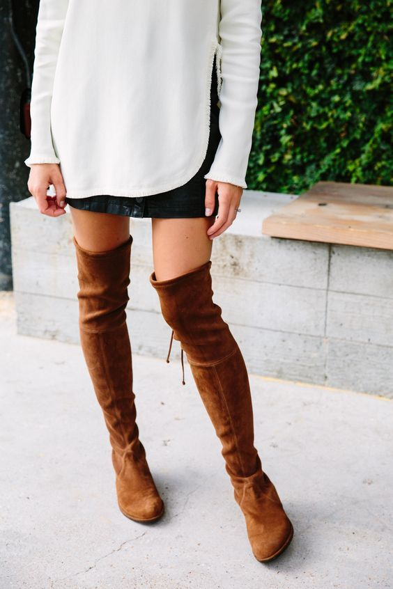 stuart weitzman suede over-the-knee boots:  Great idea on how to style over the knee boots for the fall