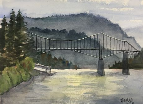 Check out Smokey Day at The Bridge of the Gods by BeccaWard  | Original Art | https://www.vangoart.co/beccaward/smokey-day-at-the-bridge-of-the-gods @VangoArt