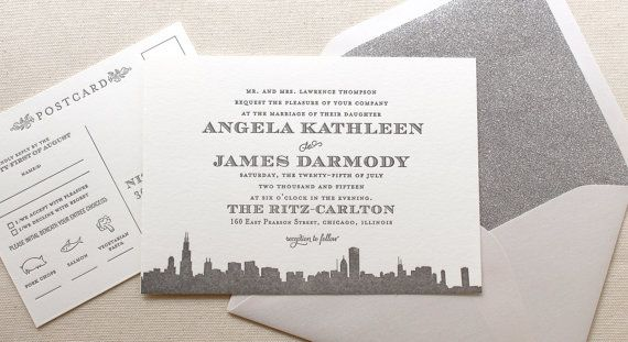 The Empire Suite - Letterpress Wedding Invitation Suite - Grey and Silver, Art Deco, Roaring Twenties, Vintage, Skyline, City, Glitter, Gray