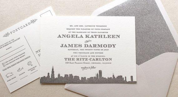 The Empire Suite - Letterpress Wedding Invitation Suite - Grey and Silver, Art Deco, Roaring Twenties, Vintage, Skyline, City, Glitter, Gray