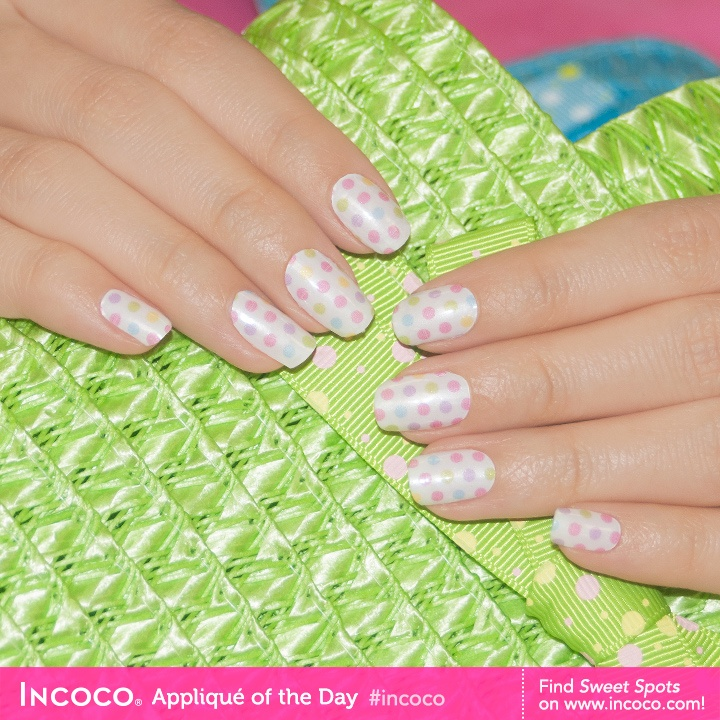 Looks like we found not just one, but quite a few sweet spots in this multi-colored, pastel, polka dot design, Sweet Spot! $8.99 #manicure #nails #Incoco #nailpolish #nailstrips