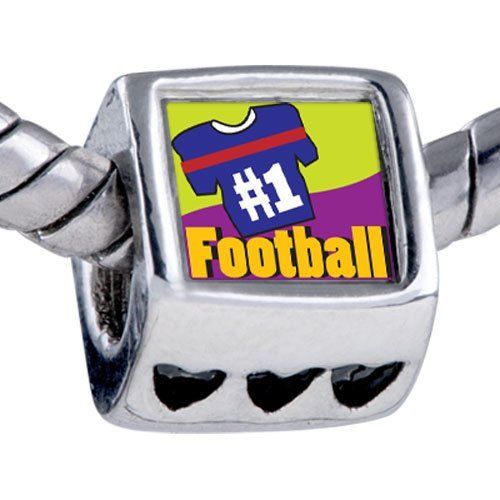 Pugster Number 1 Football Photo Heart Beads Fits Pandora Charm Bracelet Pugster. $12.49. Hole size is approximately 4.8 to 5mm. It's the photo on the heart charm. Bracelet sold separately. Unthreaded European story bracelet design. Fit Pandora, Biagi, and Chamilia Charm Bead Bracelets