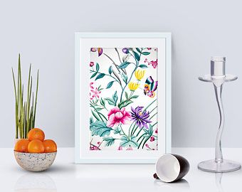 floral poster, modern printable art