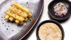 Polenta Crusted Chips with a Porcini Mayo