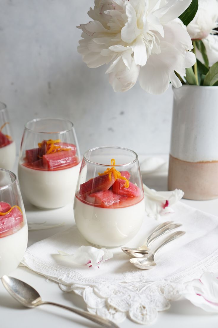 Orange Blossom Panna Cotta with a Rhubarb Compote - Autoimmune Paleo