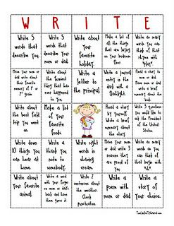 A fun way to practice writing at home!  Free Writing Menu!