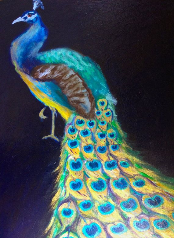 Portrait of a Peacock Painting on Panel on Etsy, $650.00 #peacocks #peacock #paintings