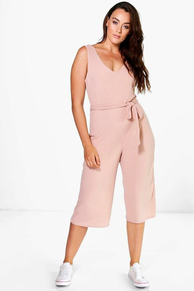 68149267d18 Boohoo Plus Gracie Ribbed Belted Jumpsuit Size 22 BNWT Nude Uk Freepost   fashion  clothing  shoes  accessories  womensclothing  jumpsuitsrompers ( ebay link)