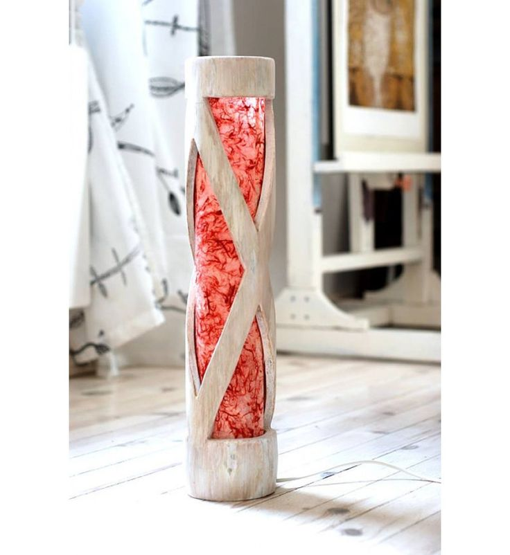 Table Lamp, Bamboo Lamp Red & White