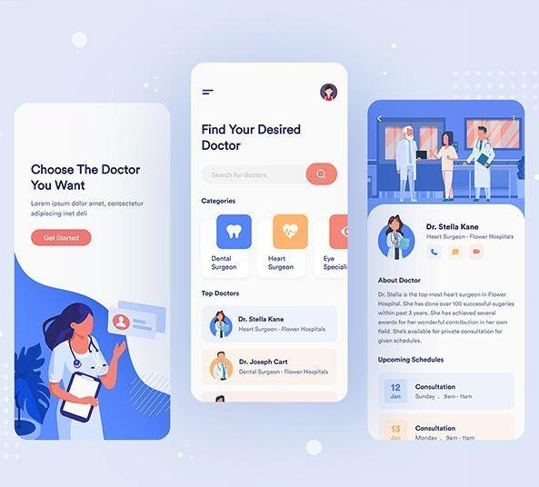 Figma Medical Service App Design For Free Download Link Included Gameapponandroid Gameapponiphone Ga In 2020 Health App Design Medical App Medical Website Design