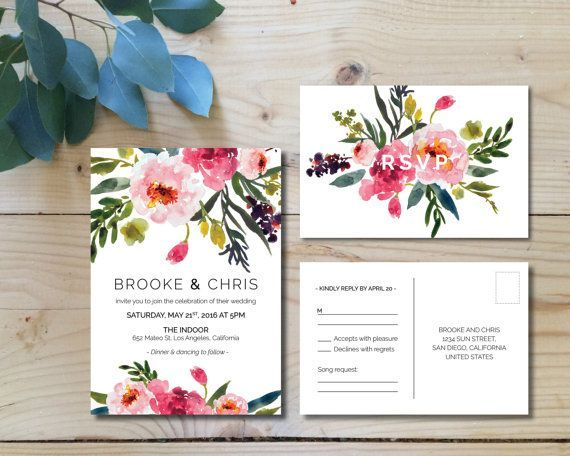 Printable Wedding Invitation Set | Wedding Invitation + RSVP postcard |  Watercolor, modern, floral, botanical, bohemian, pink | Peonies