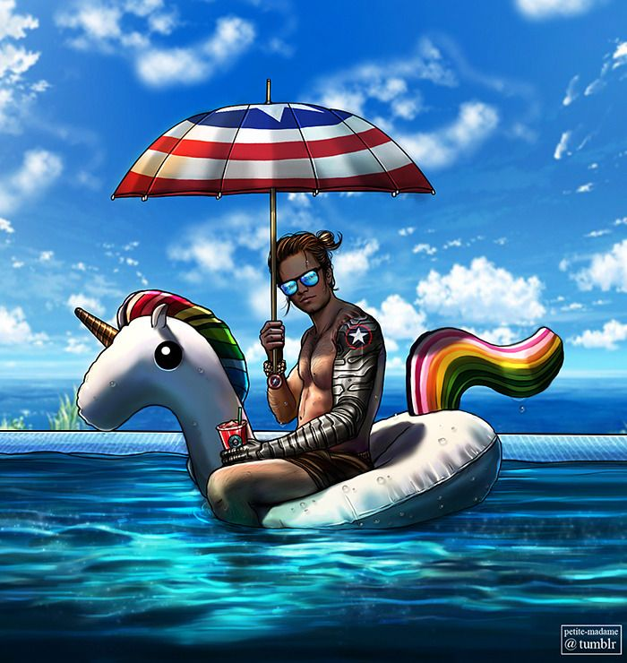 "The Summer Soldier (2017) Everybody has the right to enjoy some great vacation, even the world's deadliest assassin because…f**k you and ""this rainbow pony is mine Steve, buy your own""! (Photoshop..."
