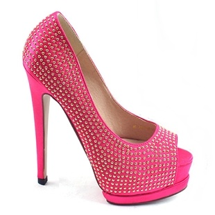[SHOESONE.BIZ] 1295  Cubic Crystal Satin Pink Open Toe Heels (13.5cm)