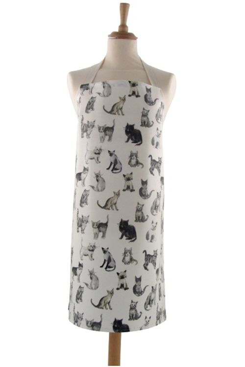 aprons with cats on | Home / Adult PVC Aprons / Adult PVC Apron Cool Cats Charcoal