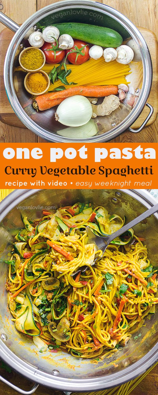 Ready in 30 minutes including prepping time. Watch the video - https://youtu.be/bcPpWIswTj0 A one pot pasta meal where pasta and sauce cook together in one pan, resulting in luscious spaghetti doused in a silky curry gravy. Piled with season's bounty fres