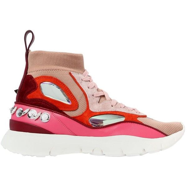 Valentino Women 30mm Heros Her Embellished Knit Sneakers ($975) ❤ liked on Polyvore featuring shoes, sneakers, nude, valentino trainers, nude sneakers, studded sneakers, rubber sole sneakers and decorating shoes