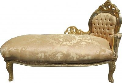Casa Padrino Barock Chaiselongue Gold Muster Gold Mod2 - Barock Möbel Chaiselongues