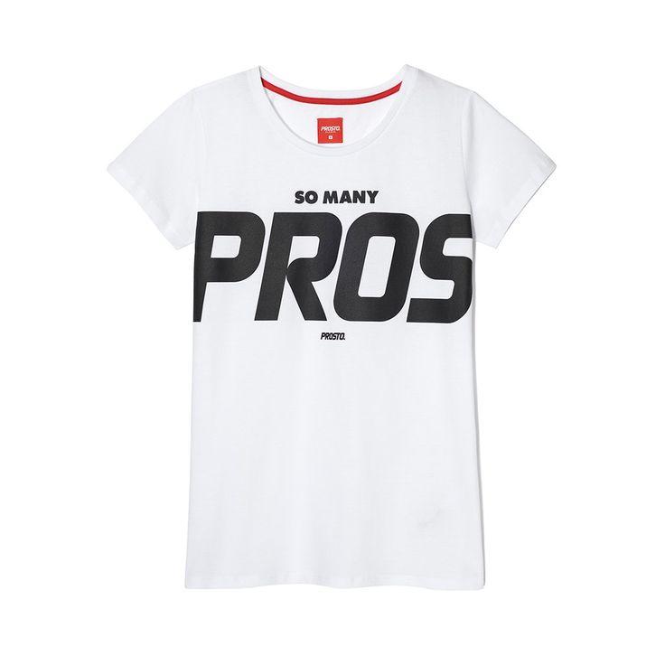 Koszulka PROS WHITE Klasyczna damska koszulka. Duża grafika na froncie. Regularny krój.