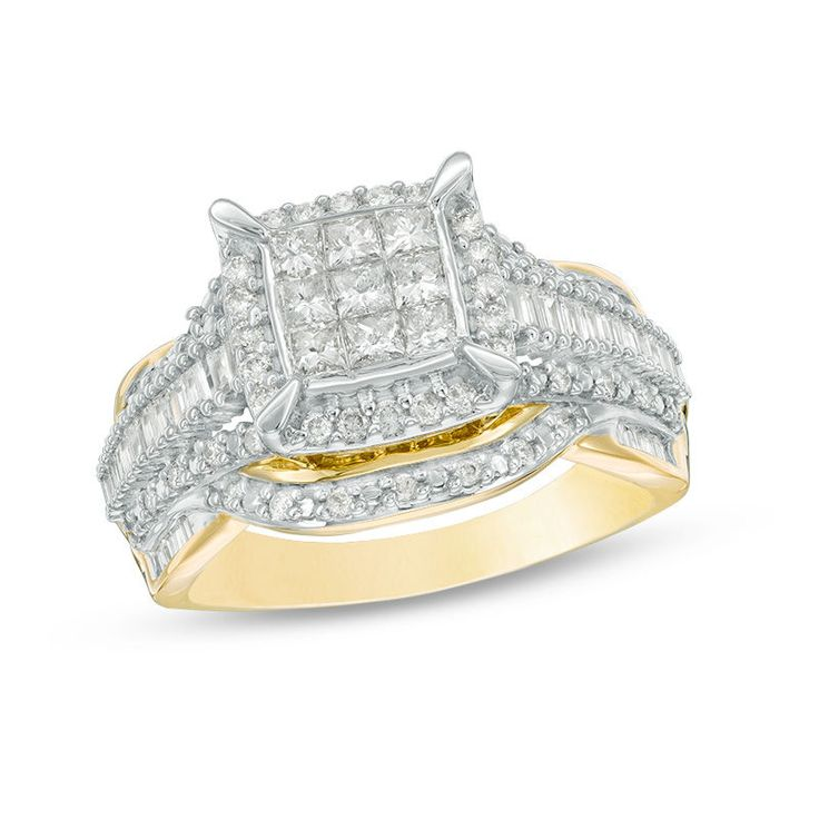 Proclaim her sophisticated style with this scintillating diamond engagement ring. Crafted in warm 10K gold, this elegant composite design showcases nine princess-cut diamonds at its center, wrapped in a cushion-shaped halo frame of diamonds. Along the wide tapered shank, rows of baguette-cut and round diamonds add interest and dimension. Captivating with 1 ct. t.w. of diamonds and a brilliant buffed luster, this engagement ring is the start of something beautiful.