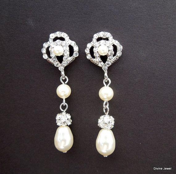 Parel bruids oorbellen Vintage stijl Rhinestone door DivineJewel
