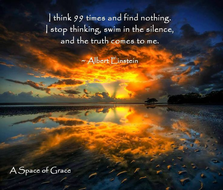 """I think 99 times and find nothing.  I stop thinking, swim in the silence, and the truth comes to me.""  Albert Einstein quote"