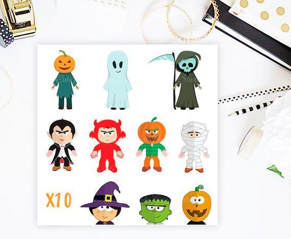 Cute Halloween Clip Art Characters Monster Clip by CutePaperStudio