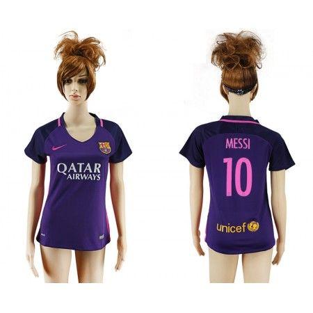 Barcelona Fotbollskläder Kvinnor 16-17 Lionel #Messi 10 Bortatröja Kortärmad,259,28KR,shirtshopservice@gmail.com
