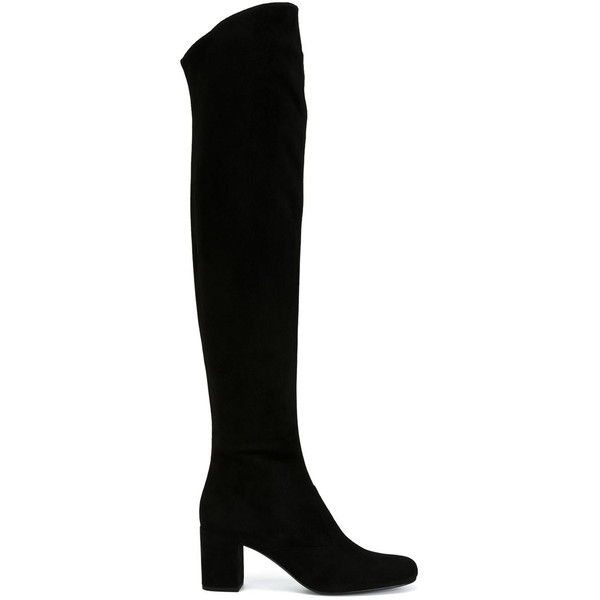 Saint Laurent thigh high boots (21.523.500 IDR) ❤ liked on Polyvore featuring shoes, boots, black, saint laurent, chunky boots, round toe boots, suede boots, above the knee boots and thigh high boots